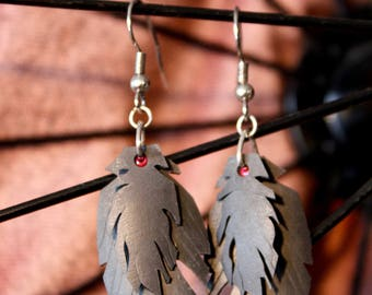 Layered Feather Earrings Made from Recycled Bike Tubes