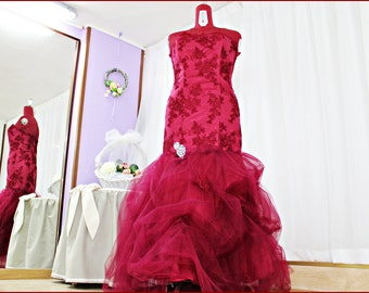 embroidered tulle dress and lace applications