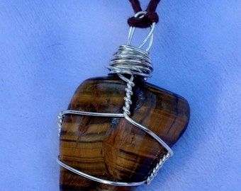 Tiger Eye, crystal, silver wire wrapped, bamboo cord
