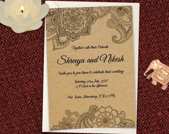 Indian Design Printable Wedding Invitation Set