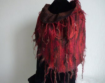 Double-sided raspberry-red and brown felted scarf, fine merino wool