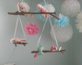 Nursery Mobile, Bird Mobile, Handmade Nursery Mobile, Vintage Mobile, Nursery Decor, Custom Nursery Mobile