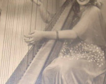 Pretty Lady RPPC Playing Harp