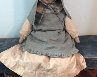 Large painted antique rag doll