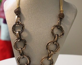 Copper Color Chain and Beige Stylish Necklace and Earrings Set