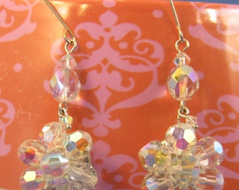 Upcycled Vintage Cluster AB Crystal Glass Drop Earrings