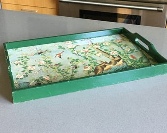 Breakfast Tray, Tea Tray, Serving Tray, Painted Wood, Green, Birds and Flowers