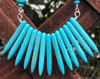Turquoise Spike Bib Necklace || Boho Necklace || Statement Necklace