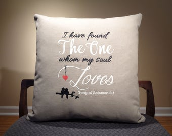 Wedding Gift for couple, Embroidered Pillow, Newlywed Gift for Bride, Wedding Decor, Anniversary Gift, Bible Verse, Song of Solomon Decor