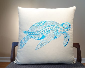 Blue Sea Turtle Pillows, Blue Ocean Decor, Sea Turtle Cushions, Nautical Pillows, Ocean Lover Decor