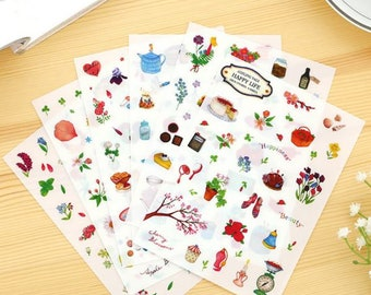6 Sheets Set ~ Happy Life Stickers, PVC Stickers ~ Kawaii Stickers ~ Beautiful Stationery, Scrapbooking, Cute Stickers, Decorative Stickers