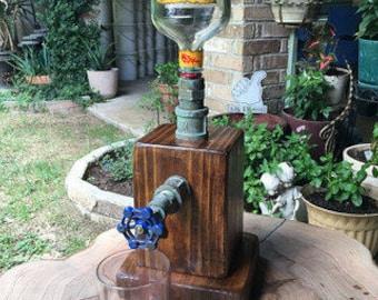 Reclaimed wood rustic liquor dispenser