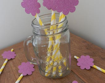 Party Straws. Yellow paper straws with pink glitter flowers. Wedding, Birthday, Baby Shower, christening, Party Decorations, Handcrafted