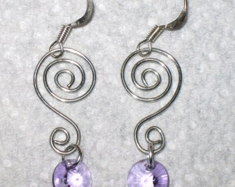 Silver Wire Swirl Violet Swarovski Crystal Rivoli Dangle Earrings, Crystal Earrings, Wire Earrings, Silver Earrings, UniqueJewelryByJen