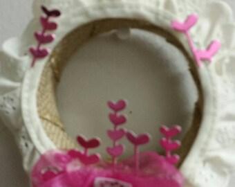 Baby pink die cur heart wreath