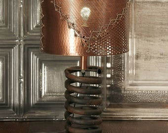 Coil Lamp with COPPER SHADE - Metal Lamp  - Lighting - Table Lamp - Metal Shade - Industrial Lamp, Steampunk, Truck Spring