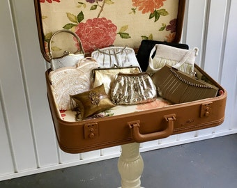 Early 1960's Vintage Suitcase Table with Cast Iron Pedestal Base - UPcycled Table