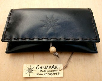 Handmade artisan hand-sewn genuine leather Canapart maps! Black