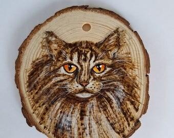 Wood burned Cat