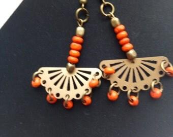Orange Earrings,Handmade
