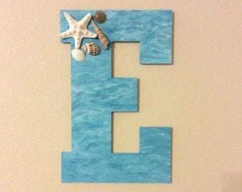 "Decorative Wood Letter Beach/ Ocean/ Sea Theme 13"""