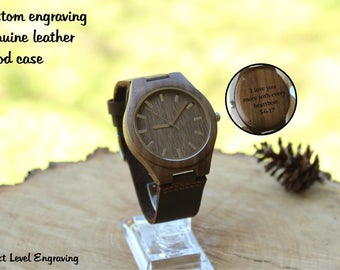 Anniversary Gifts for Men, Father's Day Gift, Mens Watch Boyfriend Gift Engraved Watch Mens Wooden Watch, Engraved Wood Watch, Husband Gift