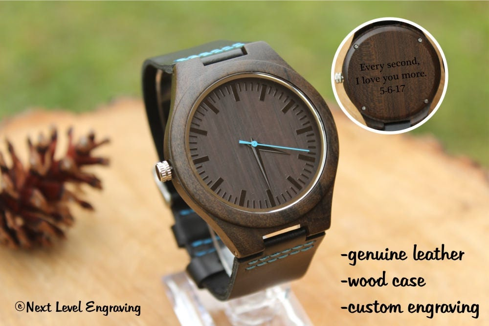 engraved watch engraved watch men watches for men 2nd anniversary gifts for men black leather wooden watch bride to groom gift engagement gift for him