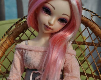 Strawberry Milkshake brushed yarn msd bjd wig
