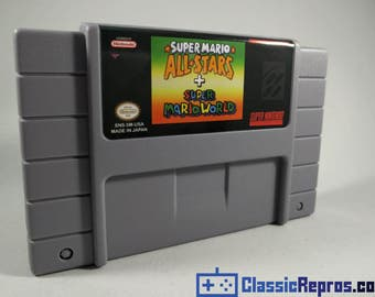 Super Mario All Stars + Super Mario World - Super Nes Reproduction Game - USA/NTSC Version - Fast US Shipping