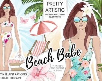 WATERCOLOR CLIPART Summer Fashion Illustration, Summer Clipart, Sea Beach Palmtree Clipart Illustration, Watercolor hand drawn Illustrations