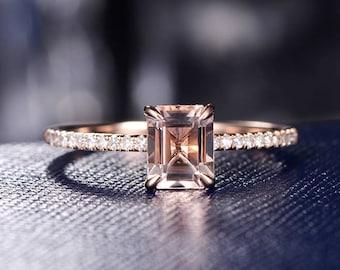 Emerald Cut Morganite Engagement Ring Rose Gold Wedding Ring Women Delicate Minimalist Bridal Set Diamond Eternity Ring Graduation Stacking