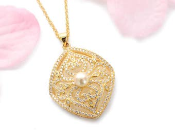 Gold bridal necklace, cubic zirconia, Art Deco, wedding jewelry, wedding necklace, pearl necklace, Art Deco necklace, vintage style