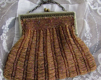 Vintage 1920s RAGTIME-CHARLESTON Pink Carnival Glass Seed Swag Beaded Flapper Purse