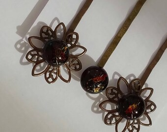 Set of 3 bobby pins with kiln fused dichroic and garnet glass set in flower antique tone standard length pins