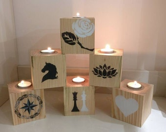 Hand Crafted Recycled Wood Candle Holders
