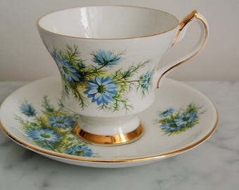 Tea Cup Vintage Blue Flowers WINDSOR Bone China Made in England