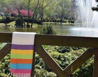 SALE 50% Rainbow Striped, Turkish Towel, Turkish Bath Towel, Turkish Beach Towel, Bath Towel, Beach Towel, Hammam Towel, Turkish Pestemal