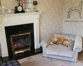 Deep Buttoned Dog Sofa - Luxury Dog Furniture - Living Room Dog Bed