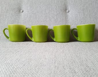 Anchor Hocking Green Milk Glass Coffee Cups Place Setters Collection 1989