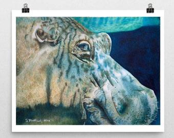 Hippo Art Hippo Print Hippo Watercolor Hippo Painting Hippopotamus Hippo Wall Art Animal Wall Art Room Decor Hippo Nursery