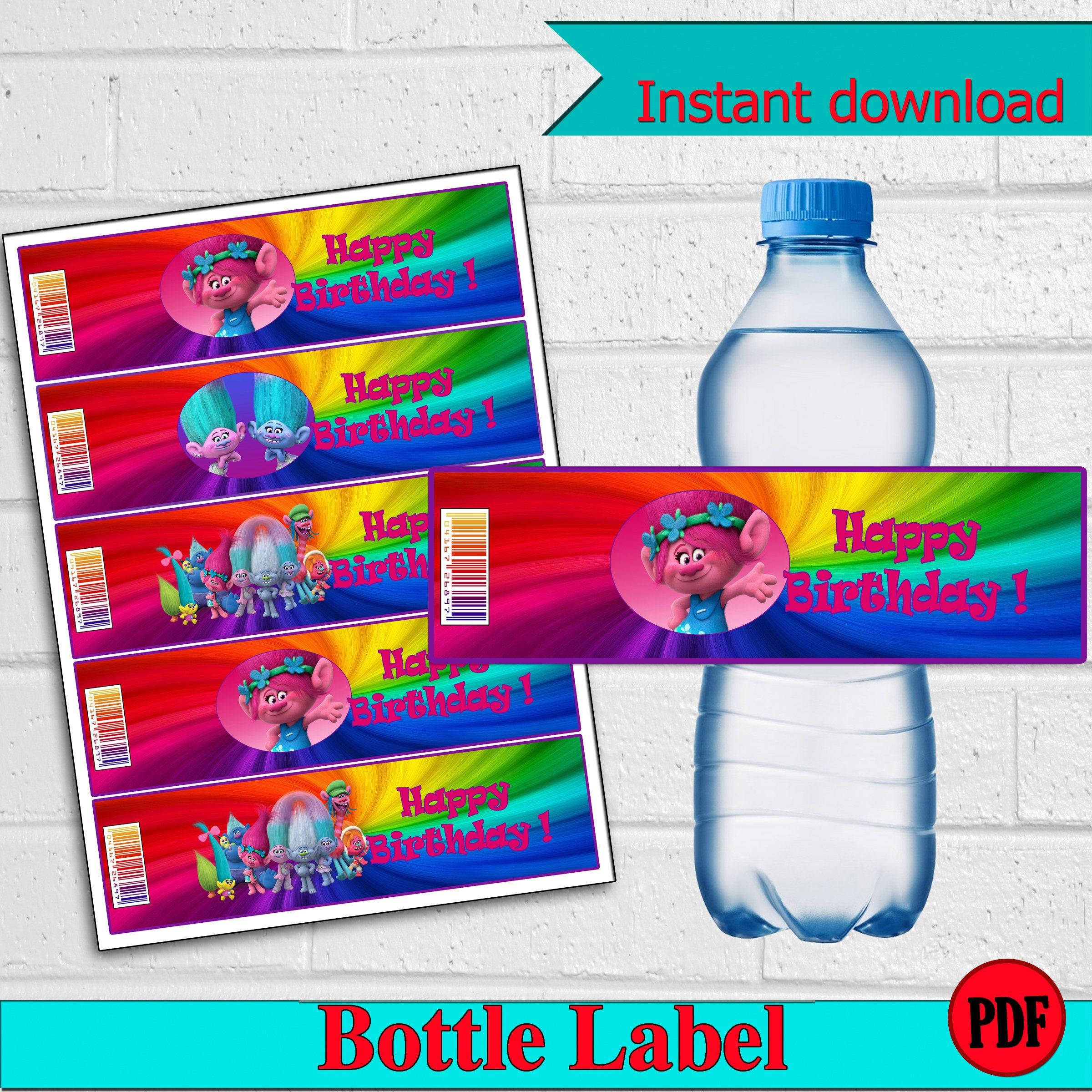 Personalized Sports Bottle Labels: Trolls Water Bottle Labels.Personalized Labels. Bottle