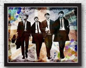 Beatles, Beatles Art, Beatles Print, John Lennon, Paul McCartney, Ringo Starr, George Harrision, Fab Four, Beatles Fan, Beatles Gifts, Music