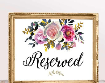 Reserved Sign, White with Flowers,Printable Wedding Signs, Printable Wedding Decor, Instant Download,Digital Printable File