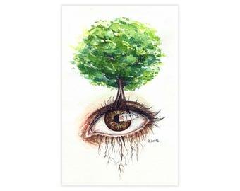 Forest Eye Watercolor Drawing Fine Art Print