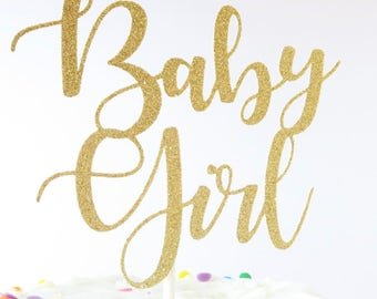 Baby Girl Cake Topper - Baby Shower Cake Topper - Gold Baby Shower Cake Topper - Gold Cake Topper - Girl Cake Topper
