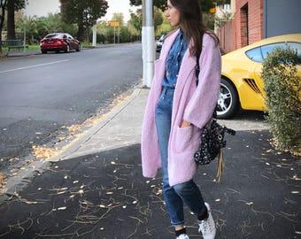 Knit coat cardigan with pockets warm wool alpaca melbourne australia quality knitwear oversize