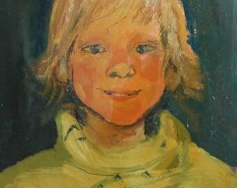 Vintage oil painting child portrait