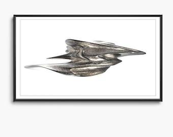 Morphocyte - Fluid Sculpt _01, Digital Sculpting Series, Generative Digital Design Printable Download, Computational Art