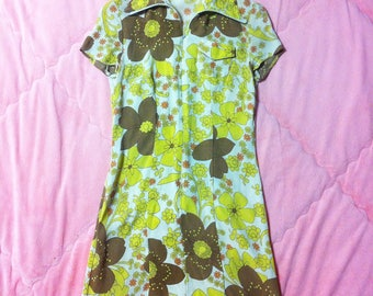 1970s Vintage Yellow Flower Power Mod Mini Dress
