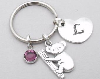 Koala heart initial keyring   koala keychain   personalised koala keyring   koala accessory   koala gift   letter   birthstone